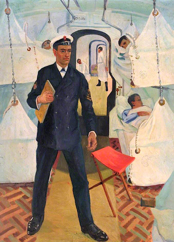 First World War -  Petty Officer with Wounded Lying in Hammocks   Jan (Godfrey Jervis Gordon   oil painting