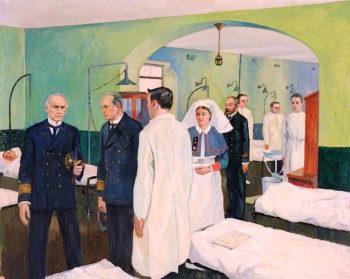 First World War -  The Surgeon Rear - Admiral Visiting a Ward at the Royal Naval Hospital
