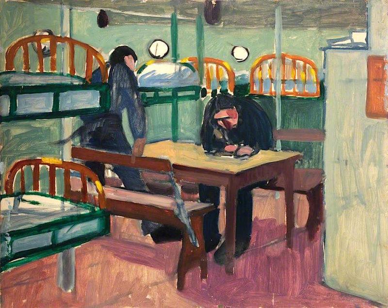 First World War -  Two Sailors in a Dormitory below Decks   Jan (Godfrey Jervis Gordon   oil painting
