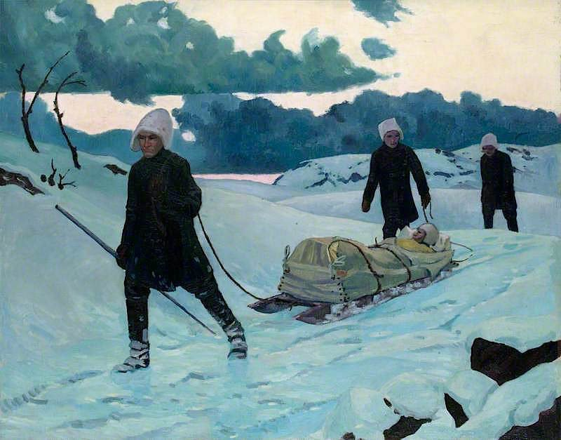 Royal Navy Armoured Car Squadron -  Winter Transport of Wounded at Alexandrovsk | Jan (Godfrey Jervis Gordon | oil painting