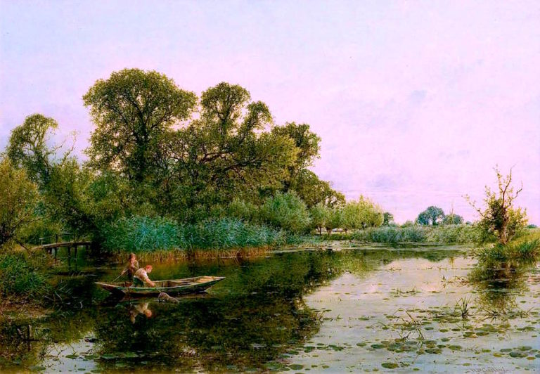 River Scene with Men in a Punt | William Gosling | oil painting