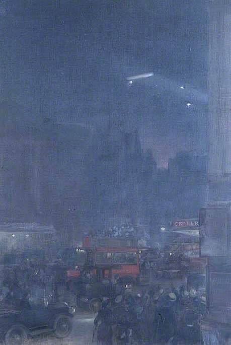 The First Zeppelin Seen from Piccadilly Circus