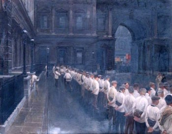 Volunteers Drilling in the Courtyard of Burlington House | Andrew Carrick Gow | oil painting