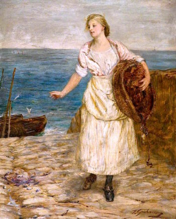 The Lass that Baits the Lines | Thomas Alexander Ferguson Graham | oil painting