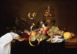 Still life with fruit, oysters and a golden cup