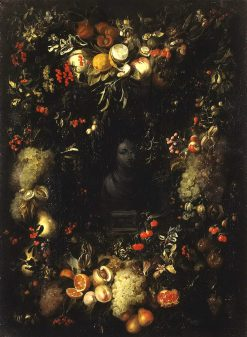 Bust of the Madonna in a garland of fruit Jan Pauwel Gillemans the Elder
