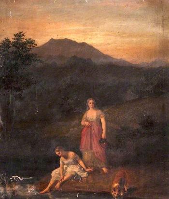 Girls at a Stream   John Graham-Gilbert   oil painting