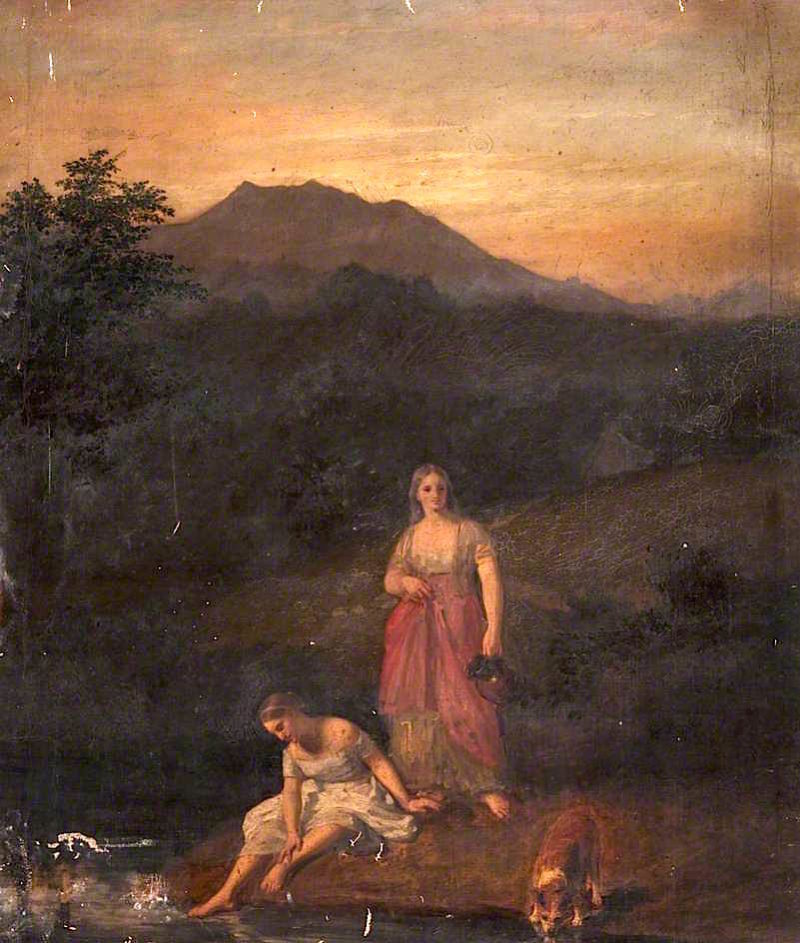 Girls at a Stream | John Graham-Gilbert | oil painting
