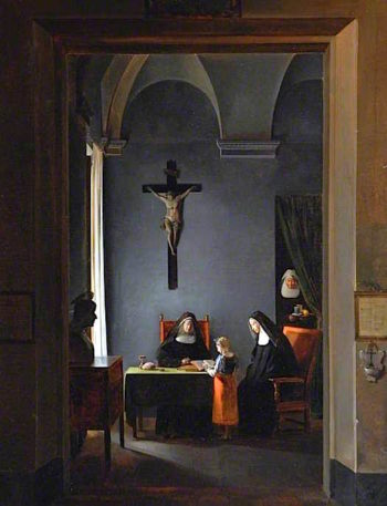 A Reading Lesson in a Convent | Francois-Marius Granet | oil painting