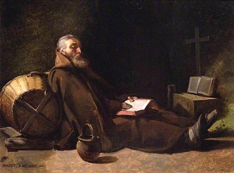 Hermit Reading   Francois-Marius Granet   oil painting