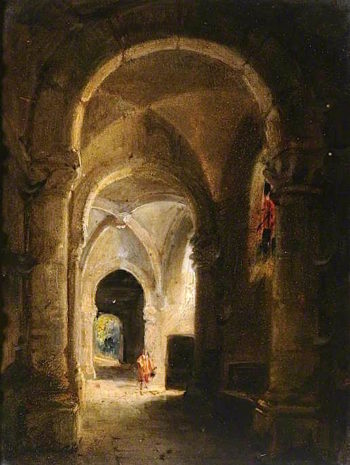 Interior of a Cloister with Figures | Francois-Marius Granet | oil painting