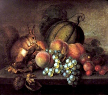 Study of Fruit with Squirrel | George Gray | oil painting