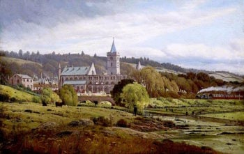 Dunblane Cathedral from the North West with a Steam Train | James M. Robert Greenlees | oil painting