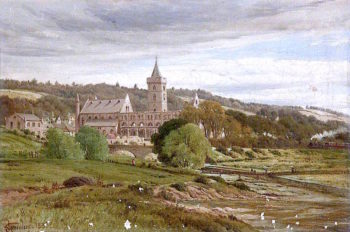 Roofless Cathedral from the North West with a Steam Train | James M. Robert Greenlees | oil painting
