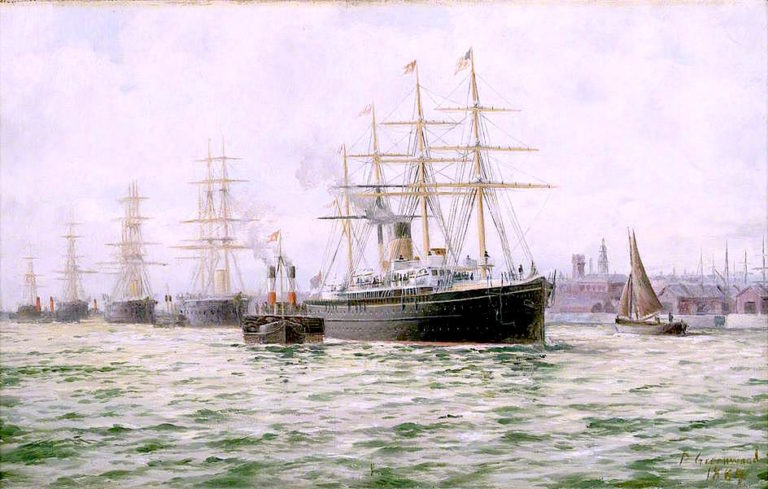The White Star Line Steamship Adriatic Leaving Liverpool | George Parker Greenwood | oil painting