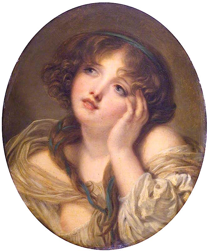 Girl Leaning on Her Hand | Jean-Baptiste Greuze | oil painting