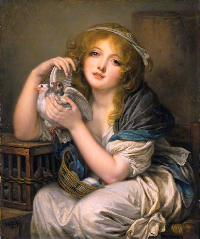 Girl with Doves | Jean-Baptiste Greuze | oil painting