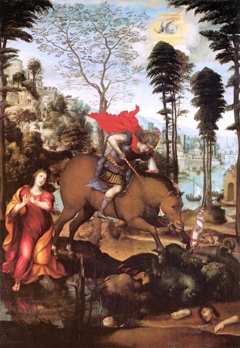 St. George and the Dragon | Giovanni Antonio (Sodoma Bazzi | oil painting