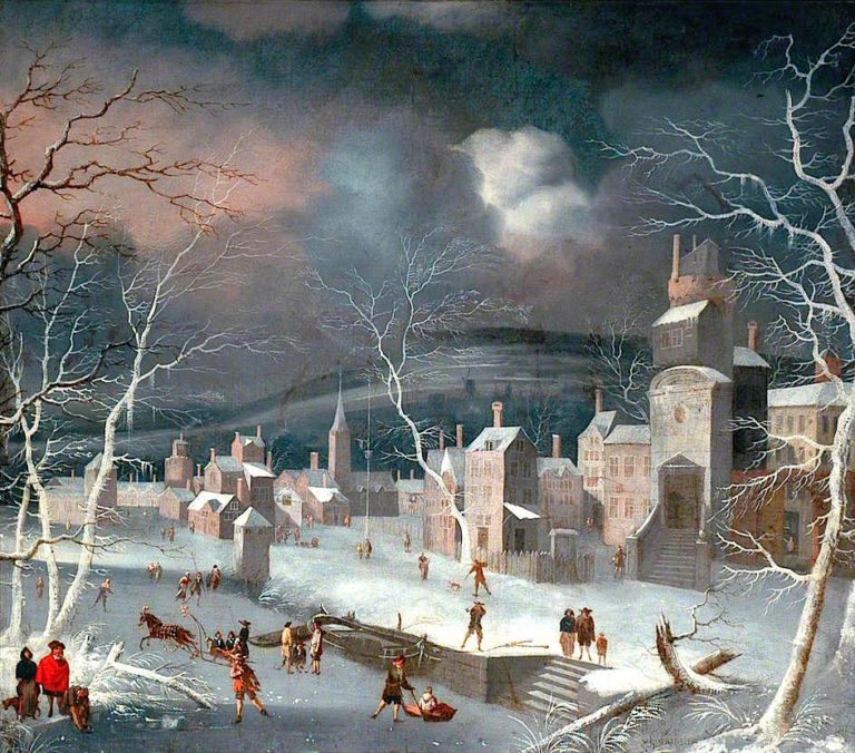 Dutch Snow Scene with Skaters | Jan Griffier | oil painting