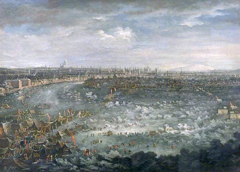The Thames during the Great Frost of 1739 | Jan Griffier II | oil painting