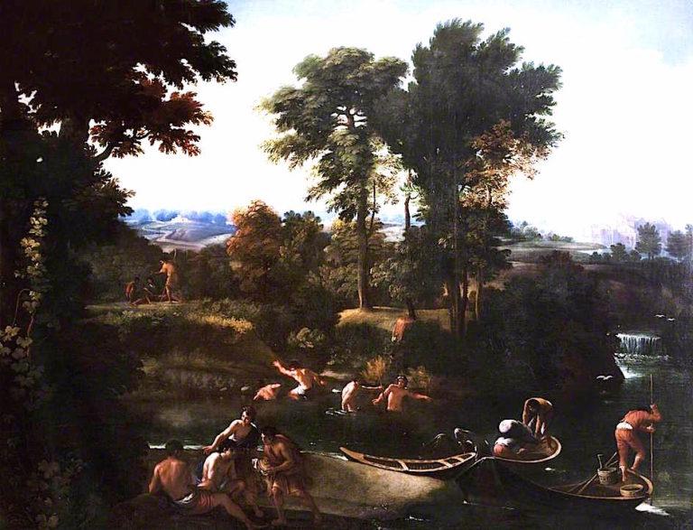 Classical Italian Landscape   Giovanni Francesco Grimaldi   oil painting