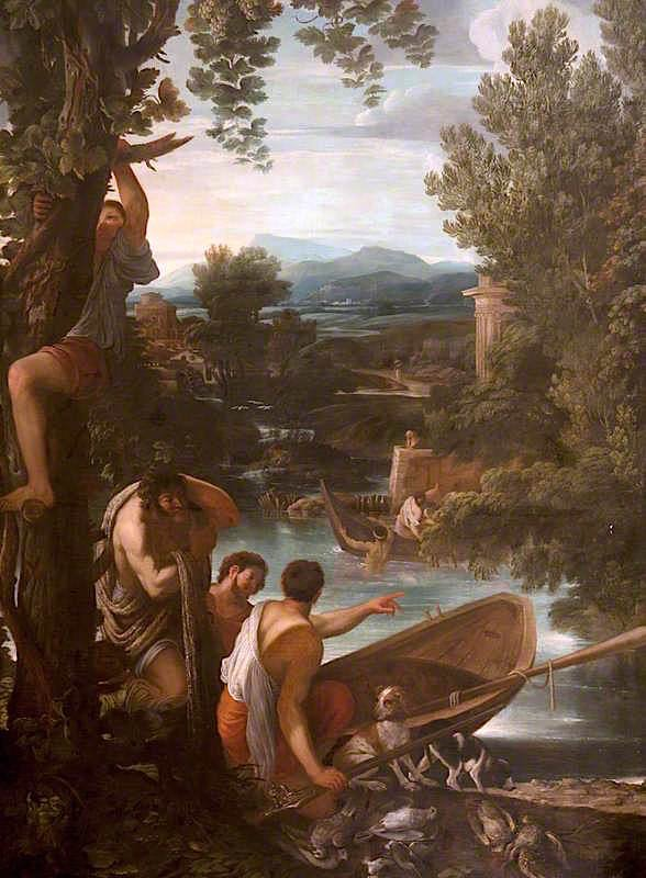 River Landscape with Fishermen and Sportsmen | Giovanni Francesco Grimaldi | oil painting