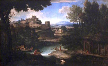 River Scene with Classical Buildings and Figures | Giovanni Francesco Grimaldi | oil painting