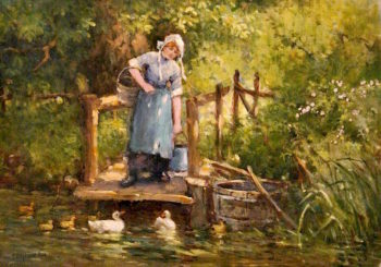 A Farm Maid | Ferdinand E. Gröne | oil painting