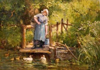 A Farm Maid | Ferdinand E. Gröne | oil painting