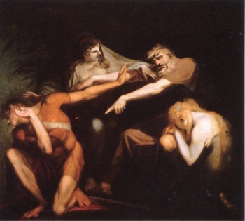 Oedipus Cursing His Son Ploynices   Johann Heinrich Füseli   oil painting