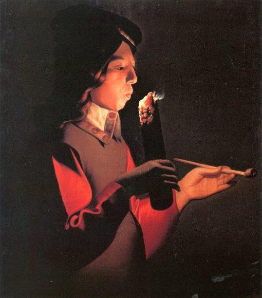 Boy Blowing on a Firebrand | Georges de La Tour | oil painting