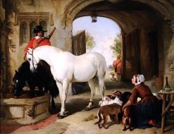 Horses Taken in to Bait | Sir Edwin Landseer | oil painting