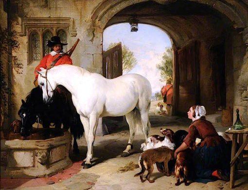 Horses Taken in to Bait | Sir Edwin Landseer | oil painting