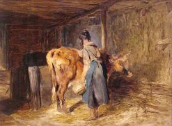 Interior of a Highland Byre | Sir Edwin Landseer | oil painting