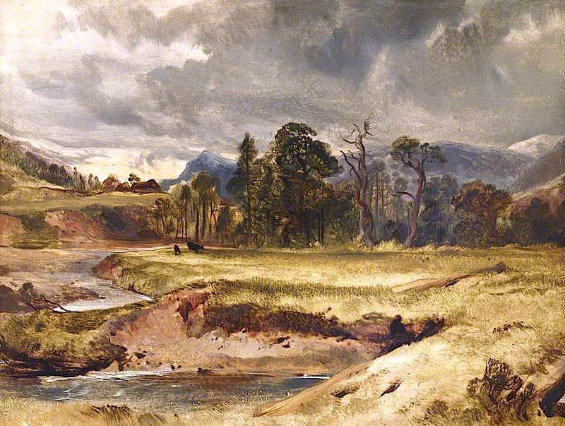 Scottish River Scene with Cattle in a Meadow | Sir Edwin Landseer | oil painting