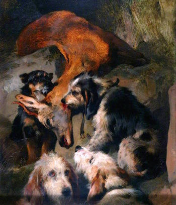 Young Roebuck and Rough Hounds | Sir Edwin Landseer | oil painting
