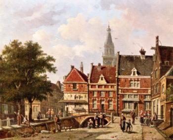 View of Zuiderspui in Enkhuizen | Adrianus Eversen | oil painting