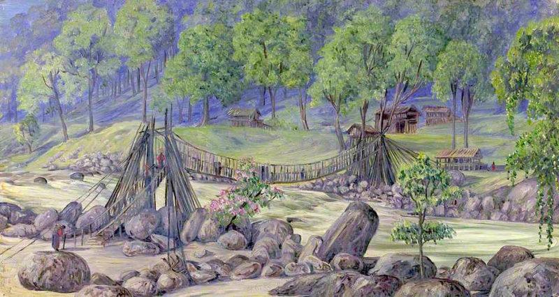 Cane Bridge over the Rungheet. Darjeeling. India. October 1878 | Marianne North | oil painting