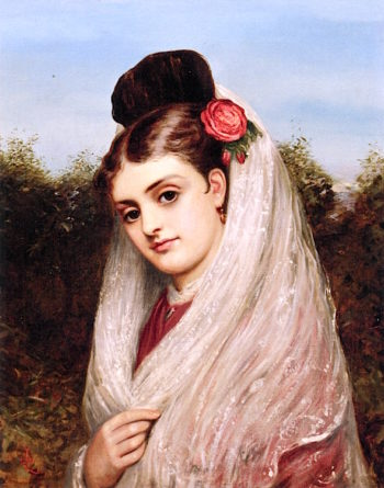 Young Woman in a White Matilla | Charles Sillem Lidderdale | oil painting