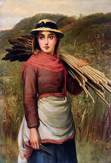 Portrait with Bullrushes | Charles Sillem Lidderdale | oil painting