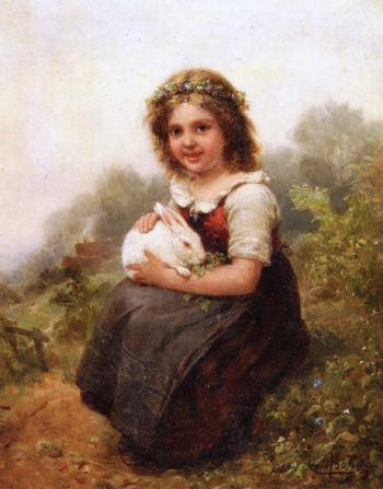 Portrait of a Young Girl Seated with a Rabbit | Carl Böker | oil painting