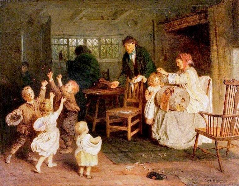 Scrambling for Cherries   John Morgan   oil painting