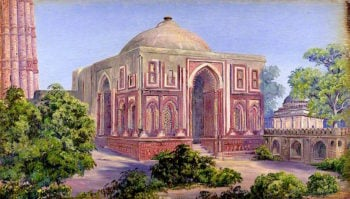 Gate of Ali Ud Deen. Kutub. Delhi. India. 15 Novr. 1878 | Marianne North | oil painting