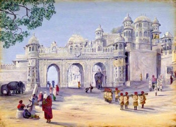 Gate of the Palace. Oodipore. Janr. 1879 | Marianne North | oil painting