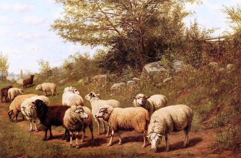 Sheep in a Pasture   Arthur Fitzwilliam Tait   oil painting