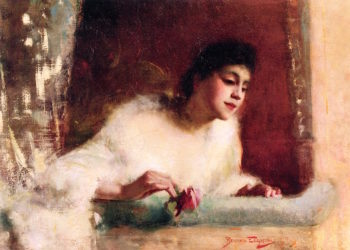 Young Woman in a Theater Box | Benjamin Osro Eggleston | oil painting