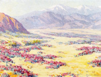 California Desert Wildflowers with Mountains Beyond | Benjamin Chambers Brown | oil painting