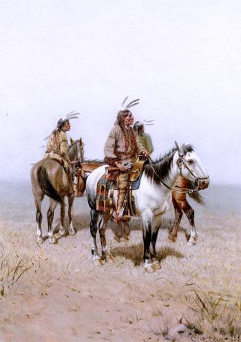 Three Plains Indians on Horseback | Charles Craig | oil painting