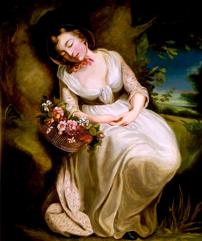A Girl with a Basket of Flowers | John Opie | oil painting