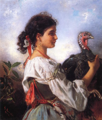 Peasant Girl with Turkey | Anton Romako | oil painting